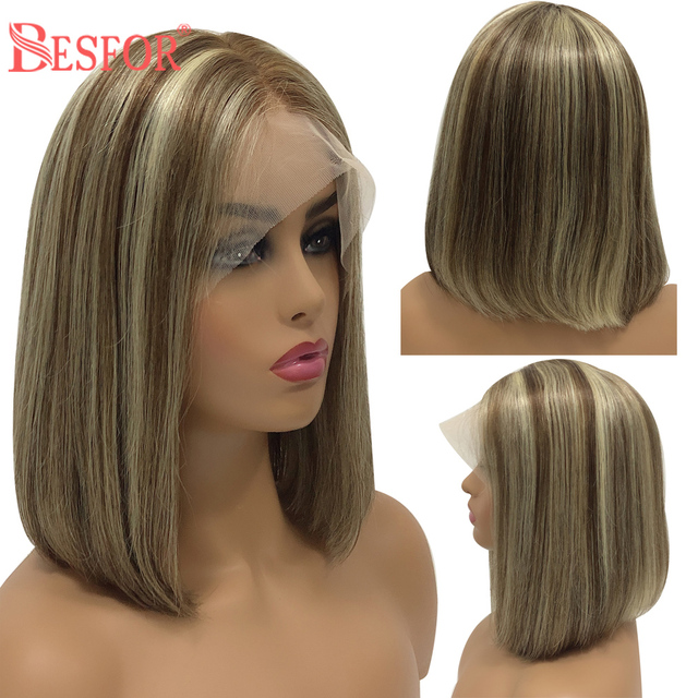 $ US $50.26 Highlights Short Bob 13*6 Lace Front Human Hair Wigs Balayage Cheap Cosplay Ombre Free part Silky Straight Wigs For Black Women