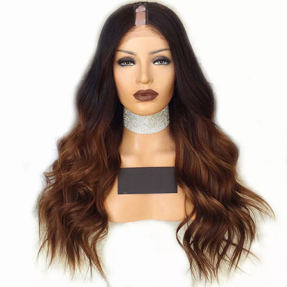 Long Brown Ombre Human Hair Wigs Natural Wave Malaysian Remy Glueless U Part Wigs Middle Right Left Upart 1