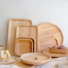Rubber Wood Round Japanese Dinner Plate Rectangle Serving Tray Beef Steak Fruit Snack Tray Restaurant Food Cutlery Storage Plate