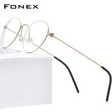 FONEX b titânio miopia óculos ópticos quadro masculino prescrição coreano óculos de olho redondo para mulher screwless eyewear 7510
