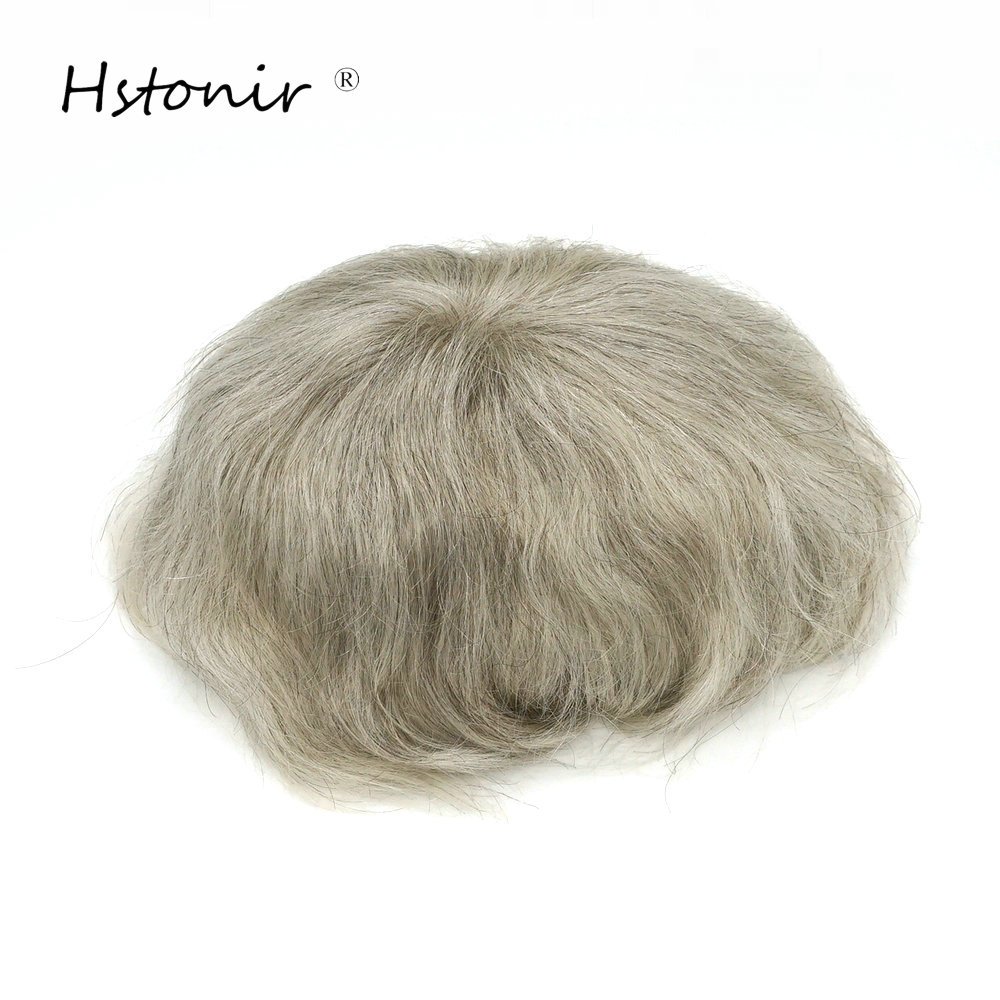 Hstonir Full Fine Weld Mono Lace Wigs Men Toupee 6x8 Inch 1780# Natural Real Indian Remy Hair Replacement H015