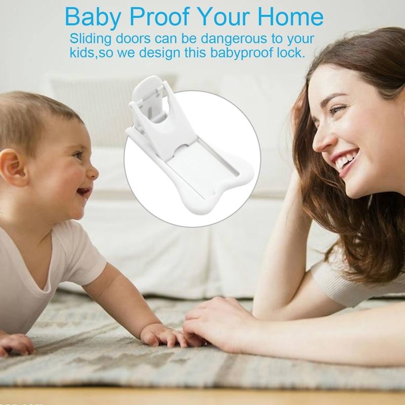 Sliding Door Lock For Child Safety,  Baby Proof Lock For Patio, Closet,Shower,Window,Wardrobe, Childproof Cupboard Kitchen Cabin
