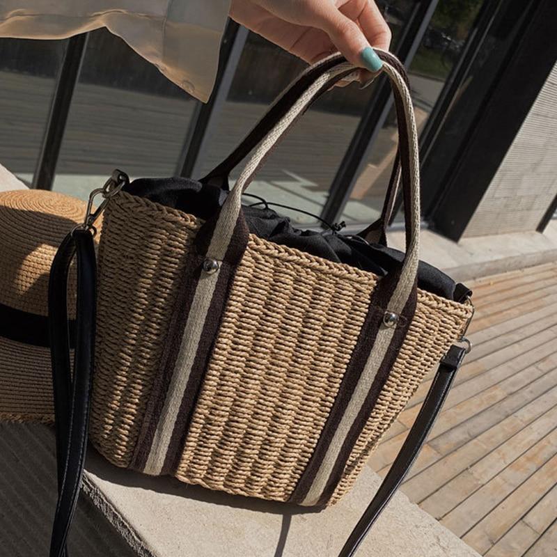 Sac à main de femme de cheval de flamme sac de plage rétro Vintage corde de paille tricoté grand sac de messager sac de papier frais de dame pour fourre-tout d'été
