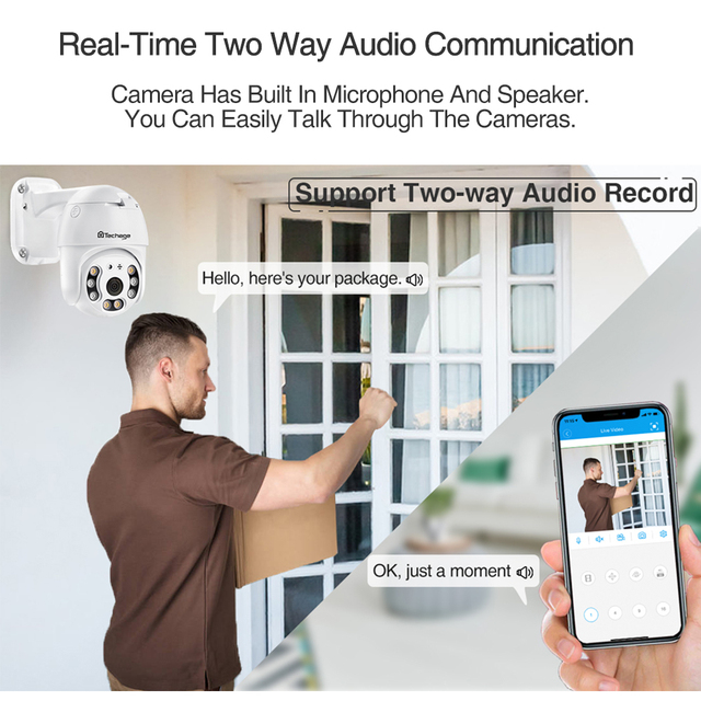 Techage 2MP Security POE IP Camera 1080P PTZ Dome AI Video Camera Two Way Audio Human Detect Surveillance TF Card for NVR System 4