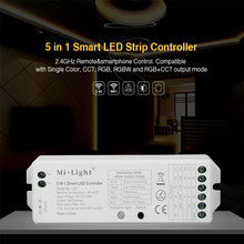 Mi Light 5IN1 WiFi LED Smart Controller single color RGB+CCT RGB RGBW LED strip for Amazon Alexa Voice phone App Remote control(China)
