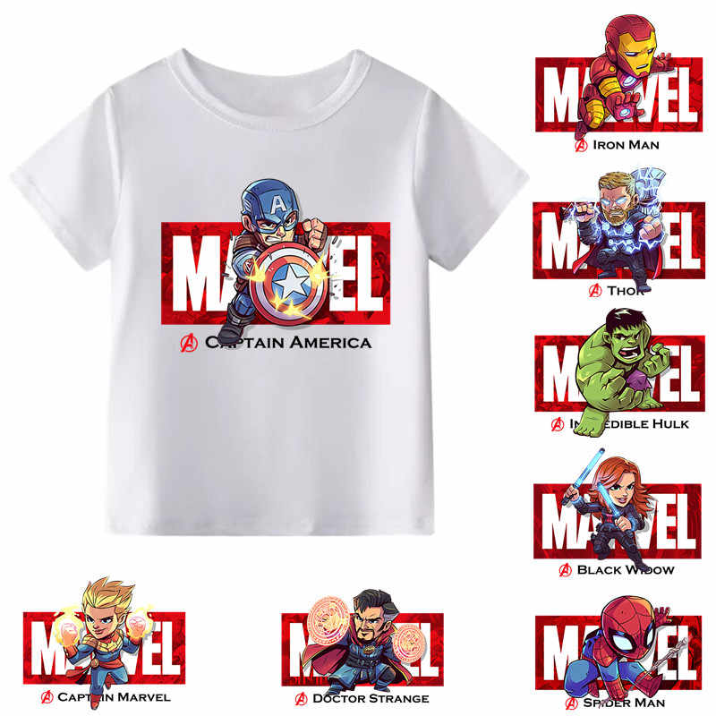 2019 nowy Marvel Avengers Iron Man/kapitan ameryka/Spiderman Cartoon T-shirt dla dzieci chłopcy dziewczęta Funny T Shirt ubrania dla dzieci