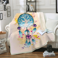 Dreamcatcher Bed Blankets Thick Double Layer Plush 3D Printed Blanket Throws for Bed Sofa Watercolor Dreamcatcher Lightweight|Throw| |  -
