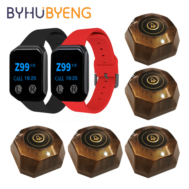 BYHUBYENG 2PCs Watches 5Pcs Buttons Wireless Waiter Calling Table System Receiver Pager Restaurant Equipments Nurse Alarm 1