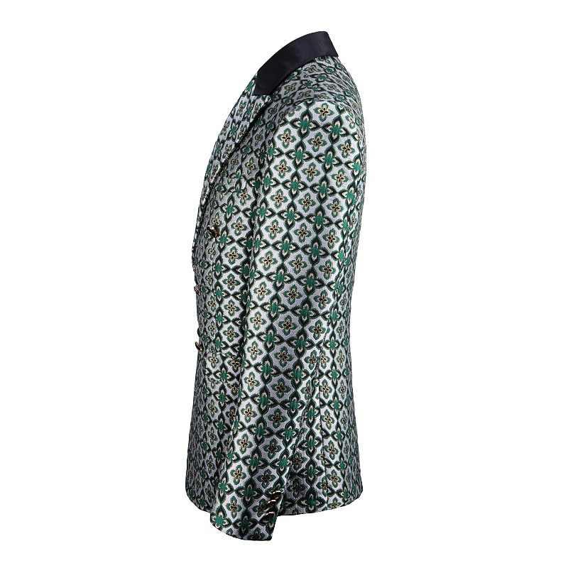 Shenrun 男性ファッションダブルブレストスーツグリーン花柄高品質新郎スーツパーティーウエディングステージ衣装歌手ドラマー