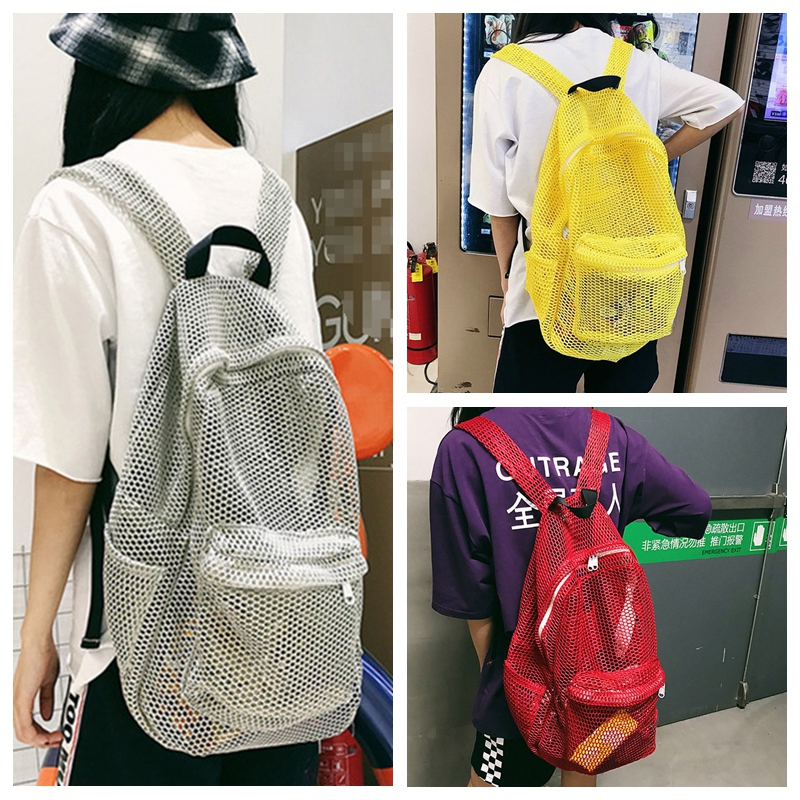 Transparent Mesh Backpack With Padded Shoulder Straps Durable Lightweight See-Through Shoulder Pack For Gym Swimming Beach