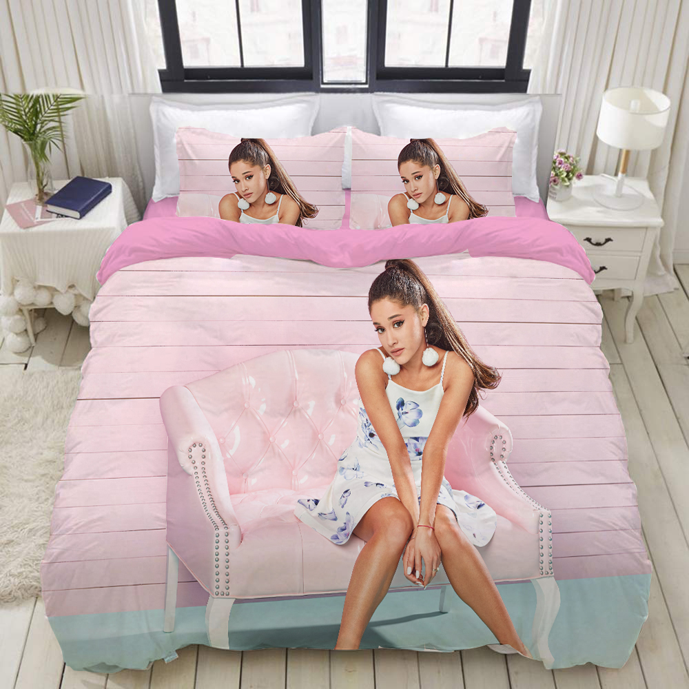 Ariana Grande 3d Printed Bedding Cover Bedding Set Duvet Cover Cartoon Giant Comforter Bed Linen Bed Set (NO Sheet)