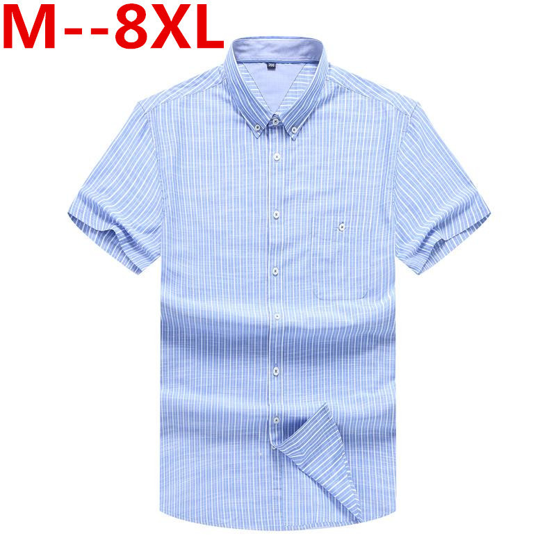 10xl 9xl 8xl Big Size Loose Fit Striped Shirt Short Sleeve Camisas Para Hombre Soft Cotton Shirt Chemise Homme 's Casual Shirt