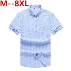 10xl 9xl 8xl talla grande suelta a rayas camisa de manga corta Camisas Para Hombre suave Camisa de algodón Chemise Homme camisa Casual