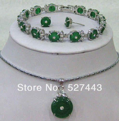 FREIES VERSCHIFFEN >>@> Großhandel Pretty green smaragd jade halskette armband ohrring set Natürliche schmuck