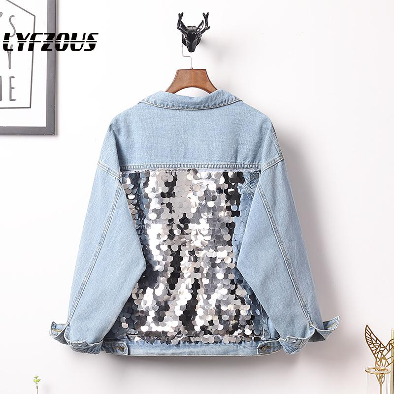 LYFZOUS Plus Size Sequins Denim Jackets Women Long-Sleeved Short Vintage Casual Loose Jean Jacket Sequined Bomber Denim Coat