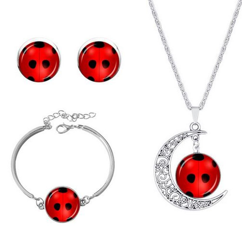 2020 Cute Girl Necklace Seven Star Ladybug Girl Time Gem Moon Chain Round Necklace Earrings Bracelet Kids Jewelry Set for Women