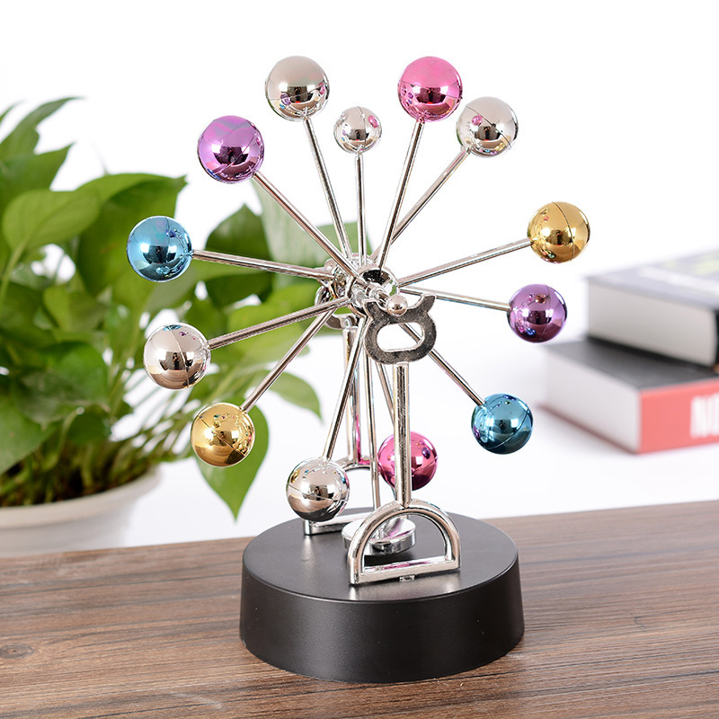 Magnetic Perpetual Motion Ferris Wheel Electric DIY Spinning Colorful Balls Home Office Desktop Decoration Children Kid Gift Toy