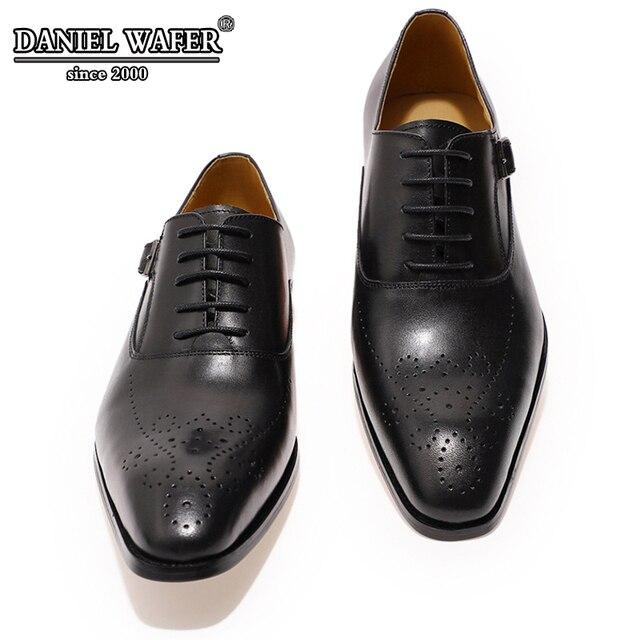 الايطالية أحذية الرجال الجلود مشبك حزام الأعمال مكتب حذاء أسود الدانتيل يصل BROCUE الرسمي أشار تو أوكسفورد حذاء فساتين راقية