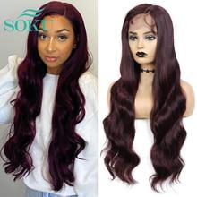 Synthetic Lace Front Wigs 99J Burgundy Lace Wig SOKU L Part Heat Resist Fiber Soft Long Wavy Hair For Black Women
