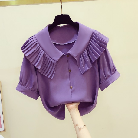 2020 Summer New Fashion Pleated Ruffled Doll Collar Single Breasted Short Sleeve Chiffon Shirt Women's Casual Blouse Blusas