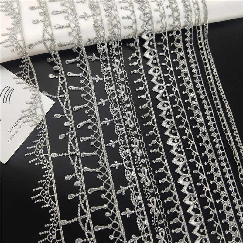 1-2cm Gorgeous high quality silver lace trim for designing sewing 1 metre