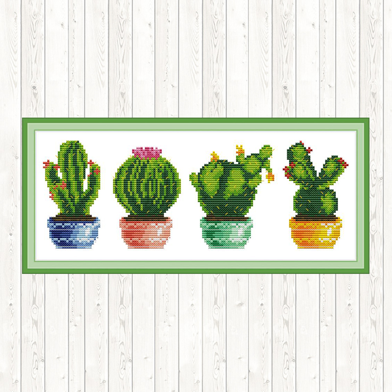 Chinese Counted Cross Stitch Flowers Cactus Patterns 14ct 11ct Ptinted on Canvas Embroidery Cross Stitch Kit Easy DIY Needlework