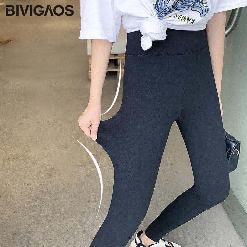 BIVIGAOS New Women Sharkskin Black Leggings Thin Workout Stretch Sexy Fitness Leggings Skinny Legs Slimming Sport Leggings 3