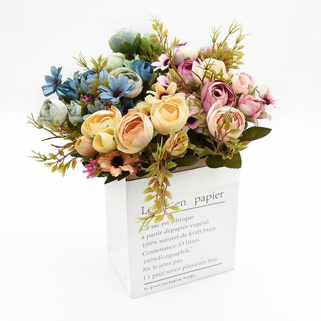 Multicolor Tea Roses Vases for Home Decoration Accessories Fake Daisy Plastic Plants Wedding Decorative Artificial Flowers Cheap 6
