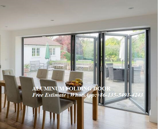 Aluminum Bifold Door With Glasses Integrated,prefabricated Glass Bi Folding Door With Aluminium Alloy Frame,outdoor Folding Door