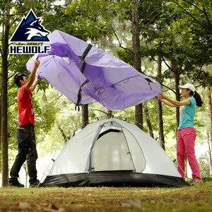 Image 4 - Hewolf 1595 야외 더블 레이어 초경량 알루미늄 극 방수 방풍 캠핑 텐트 2.51KG 비치 텐트 Barraca