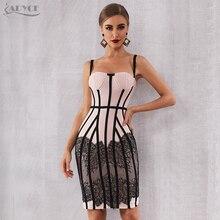 Adyce 2020 nowa letnia sukienka bandaż kobiety Sexy koronki Bodycon Spaghetti pasek klub Midi Hot Celebrity wieczór Runway Party Dress