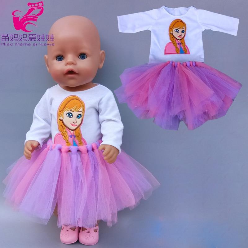 18 Inch Girl Tutu Dress Princess Anna Rainbow Color Skirt 43 Cm Baby Doll Clothes Shirt Dress Children Gift