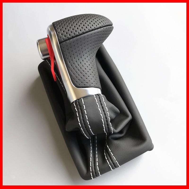 Автомобильный кожаный хромированный рукоятка для рычага переключения передач ручки для AUDI A6 A7 A3 A4 A5 A6 c6 Q7 Q5 2009 2010 2011 2012 2014 4G1 713 139 R