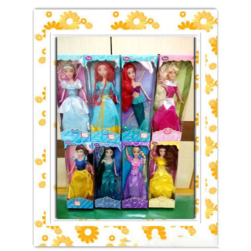 30CM Disney Princess Toys Rapunzel Belle Cinderella Mermaid Melinda Action Figures PVC Model Collection Doll Toy For Girls Gifts
