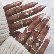15 Pcs/set Bohemian Vintage Gold Silver Ring Set For Women Lady Opal Crystal Twist Knuckle Finger Ring Female Wedding Jewelry(China)