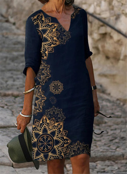 Fashion casual dress large size loose dress temperamental mid-sleeve dress 1