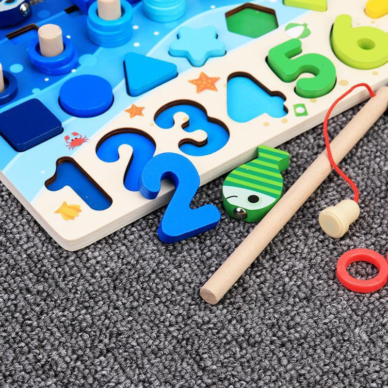 Brinquedos de madeira educacionais montessori para crianças, painel sensorial, matemática, pescaria, brinquedo de contar, geometria, pré-escola 3