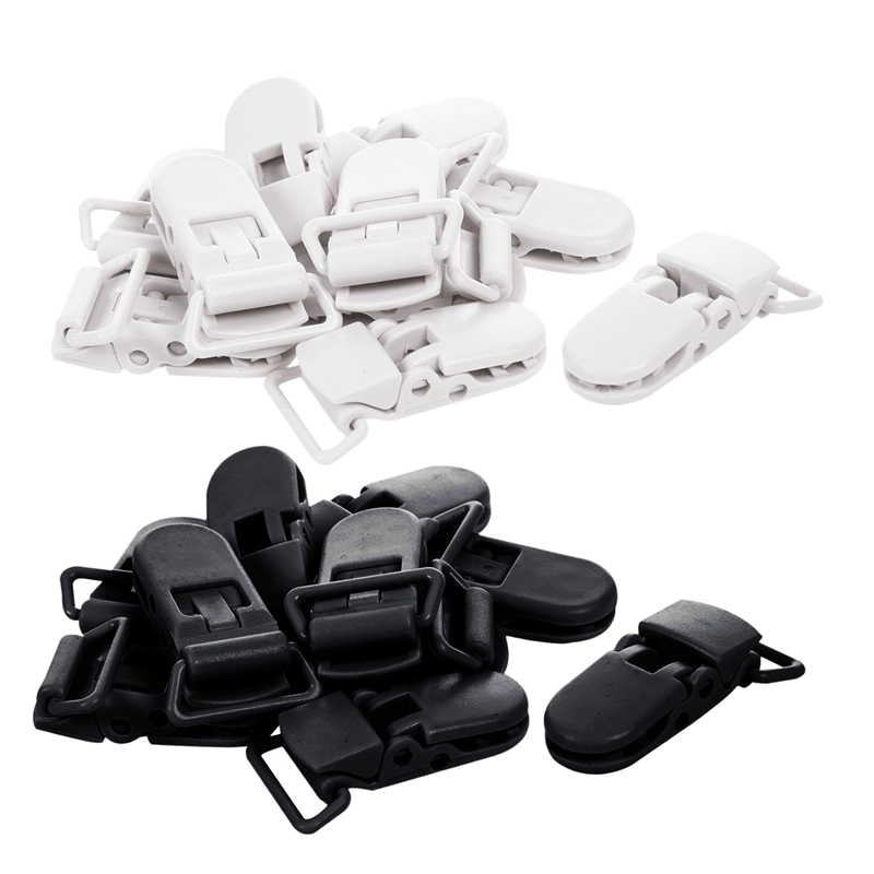 20Pcs Baby Kids T-Shape Plastic Pacifier Clips Soother Dummy Style Badge Holder Black & White