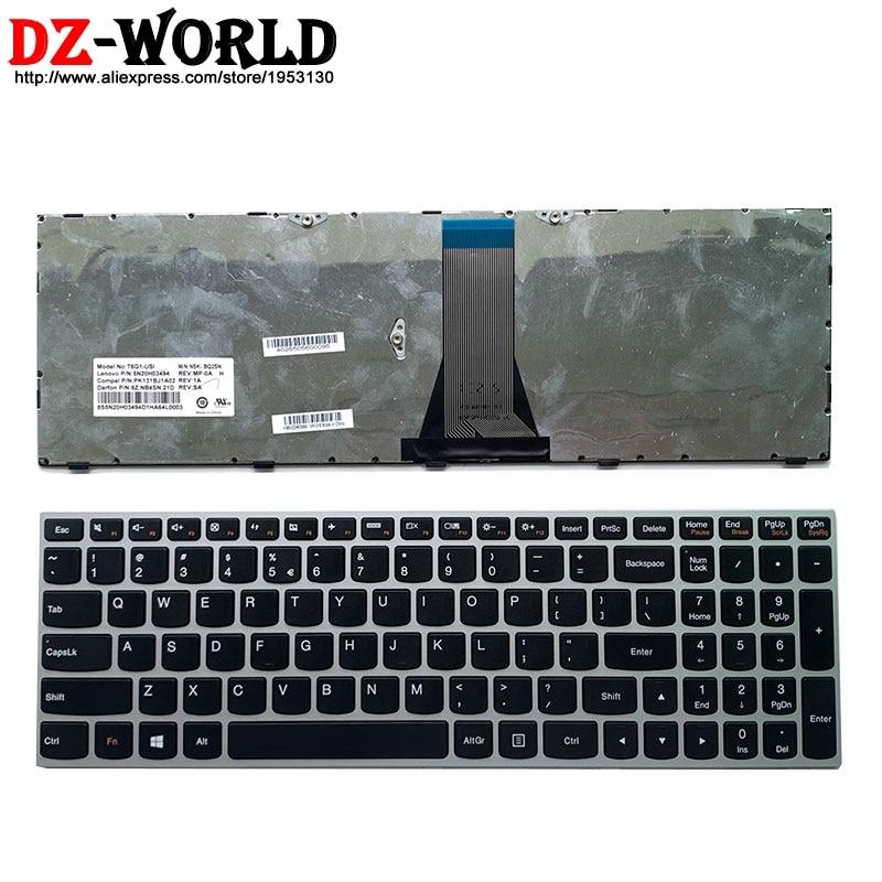 Новый оригинальный серебристый Уси английская клавиатура для ноутбука lenovo E51-35 80 30 B70-80 B71-80 Z50-70 75 80 Z51-70 Z70-80 серии