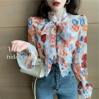 Korean style CHIC Retro Shirt Lace Joint Printed Neckline Lace up Ribbon Chiffon Blouse Shirt Women's