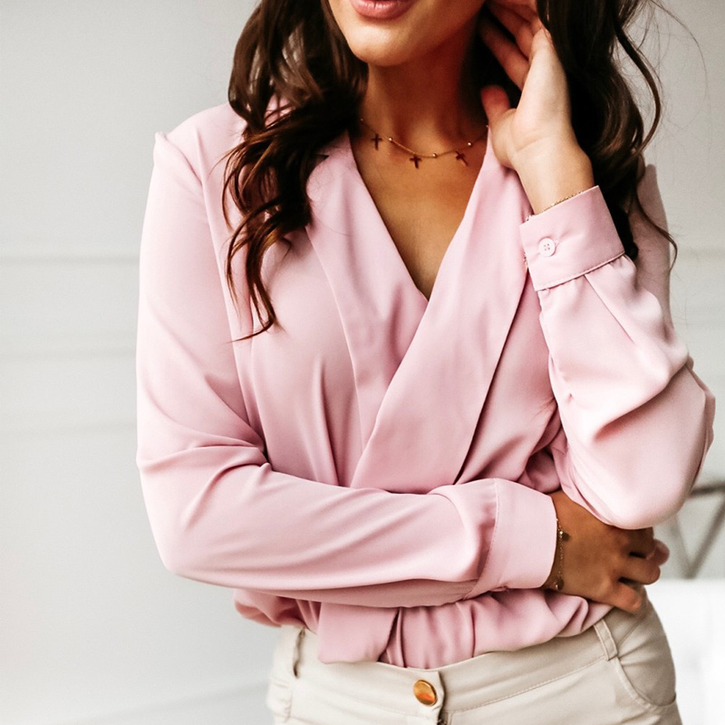Women's Office Lady Blouses Tops Plus Size 3XL Long Sleeve V Neck Female Top 2020 Spring Sexy Loose Casual Woman Clothes