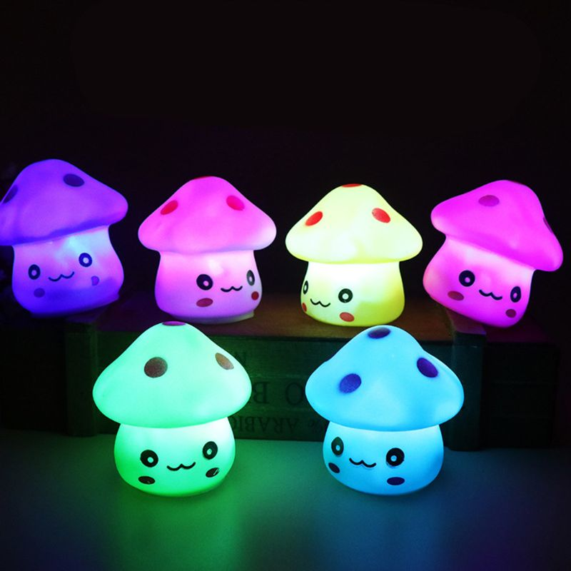 LED Cute Colorful Mushroom Night Light Lamp As Baby Kids Children Christmas Birthday Gift