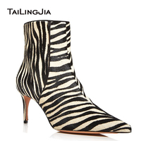 Zebra Women Stiletto Heel Short Ankle Boots Faux Horse Hair Ladies Sexy 2019 Winter Autumn Shoes BootieS Large Size Factory Boot