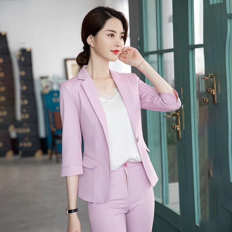 2019 Summer New Style Half-sleeve Blazer Pants Suit Korean-style Fashion Slim Fit Business Set