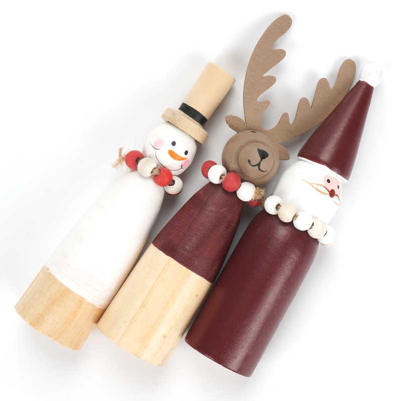 Decorazioni di Natale per La Casa di Legno Pupazzo di Neve di Natale Babbo Natale Renna Bambole Mini Ornamenti di Natale 2019 Partito di Nuovo Anno Regali Fai da Te