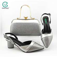 Bag Shoes Nigerian High-Heels Silver-Color African Wedding And To Party for Bag-Set Mature