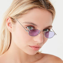 Vintage rectangle sunglasses brand designer alloy mirror sun
