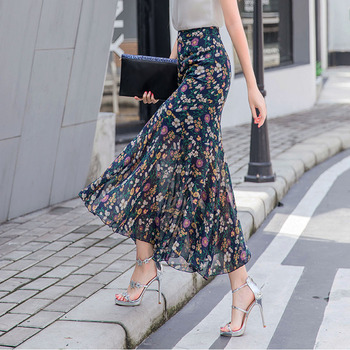 Summer Fall 2020 Chiffon Lotus Edge Mermaid Long Skirts Wrap Skirt With Slit Elegant Dress Vintage Floral Print Femme High Waist slit print long flowing wrap plunge dress