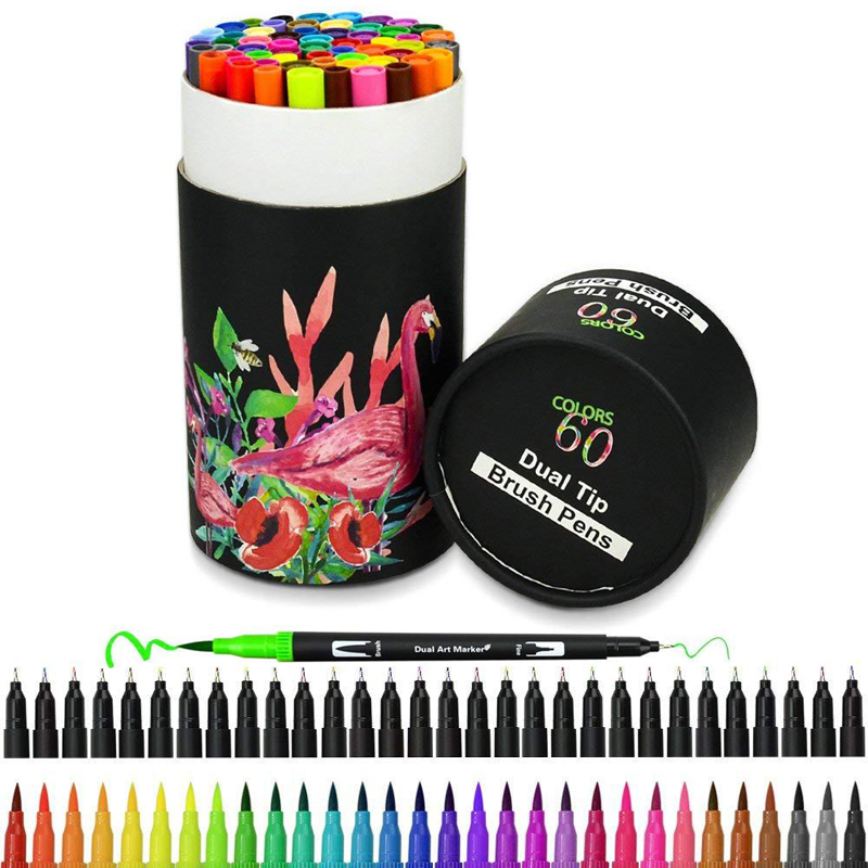 60 цветов s художественные маркеры, Двойные наконечники, Цветная кисть для подводки, цветные ручки, водный маркер для каллиграфии, рисования, ...