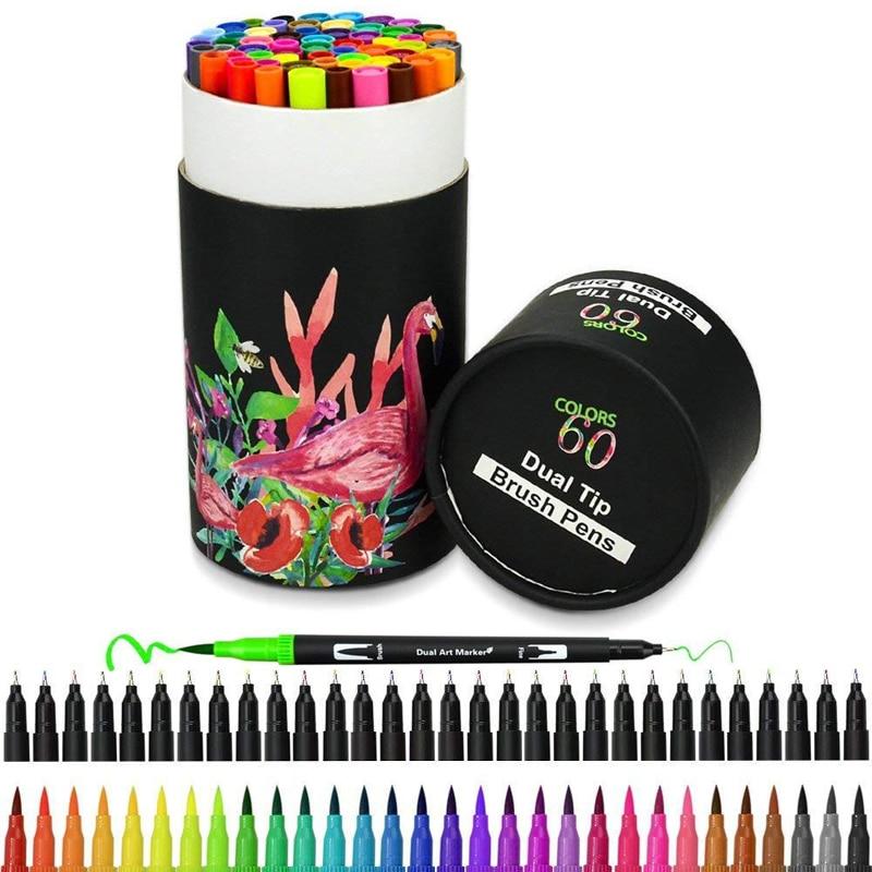 60 цветов s художественные маркеры, Двойные наконечники, Цветная кисть для подводки, цветные ручки, водный маркер для каллиграфии, рисования, набросков, цветная книга для рисования|Цветные маркеры|   | АлиЭкспресс